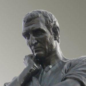 Fotografie der Bronzestatue von Ovid (Ettore Ferrari, 1887)