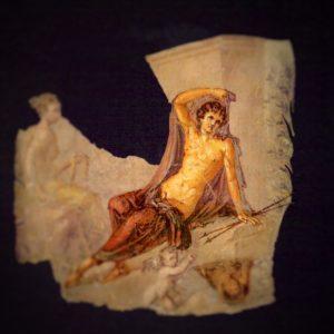 Fotografie von einem Fresko aus Pompeji, auf dem Narziss abgebildet ist