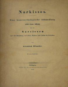 Fotografie des Buchcovers von Friedrich Wieseler: Narkissos (1856)